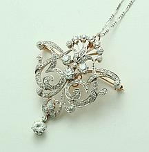 DIAMOND BROOCH PENDANT.