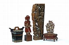 FOUR WOODEN CARVINGS.