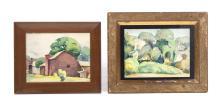 TWO LANDSCAPES BY ALVIN RAFFEL (OHIO, 1905-1987).