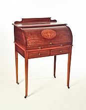 HEPPLEWHITE-STYLE CYLINDER ROLL-TOP LADIES' DESK.