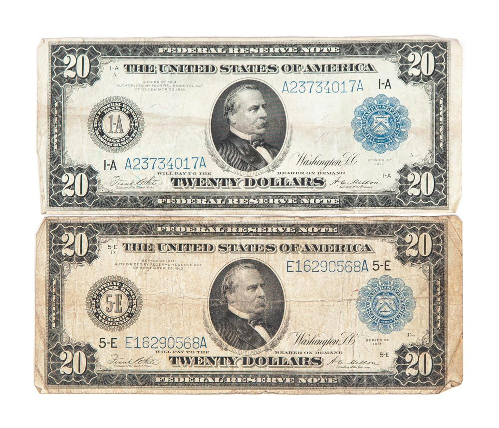 TWO UNITED STATES OF AMERICA SERIES OF 1914 $20 BLUE SEAL