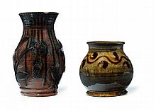 TWO REDWARE VASES.