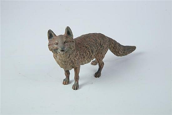 BRONZE FOX ATTRIBUTED TO FRANZ BERGMANN (AUSTRIA/AMERICA, 1898-1977).