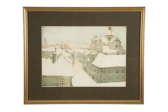 CITYSCAPE BY STEPHAN FILIPKIEWICZ (POLAND, 1879-1944).