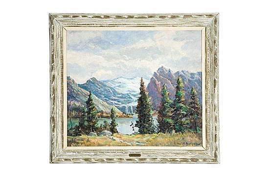 BOW GLACIER AND LAKE IN CANADIAN ROCKIES BY LOUIS WILLIAM BONSIB (INDIANA, 1892-1971).