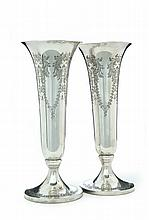 PAIR OF SILVER TRUMPET VASES.
