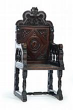 CARVED GREAT OR WAINSCOT CHAIR.