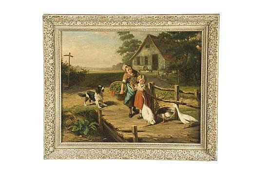 FARM SCENE WITH CHILDREN BY JAN WALRAVEN (NETHERLANDS, 1827-1863).