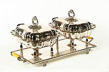 SILVER PLATE DOUBLE CHAFFING DISH.