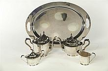 STERLING SILVER TEA SET.