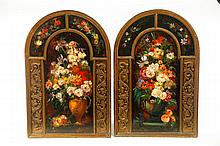 PAIR OF PAINTED PANELS.
