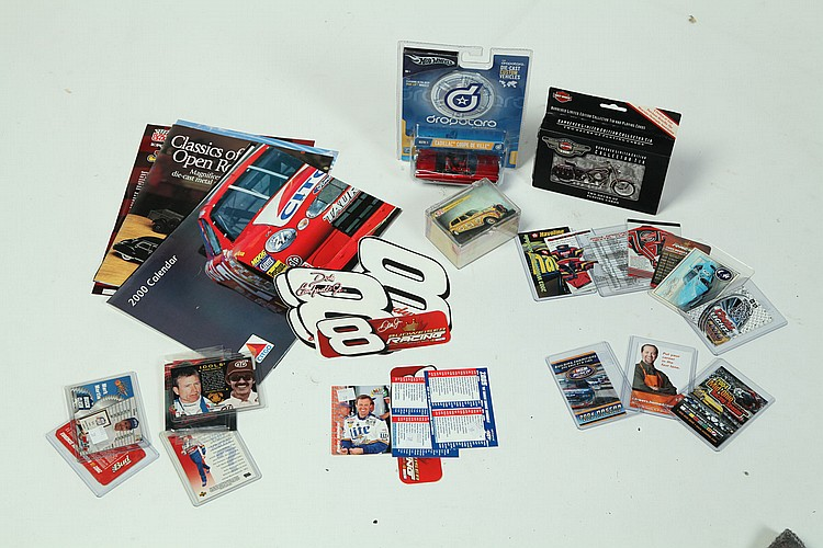 AUTO RACING MEMORABILIA AND TRADING CARDS.
