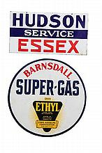 TWO GASOLINE SERVICE STATION SIGNS.