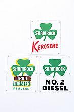 THREE SHAMROCK GASOLINE STATION SIGNS.
