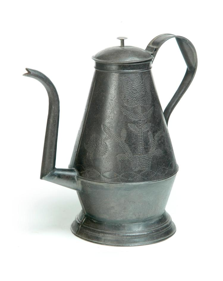 AMERICAN PUNCHED TIN COFFEE POT.