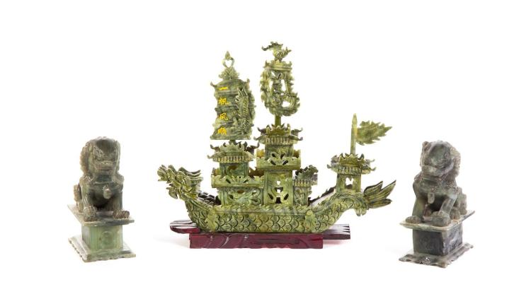 CHINESE SHIP AND PAIR OF FOO DOGS.