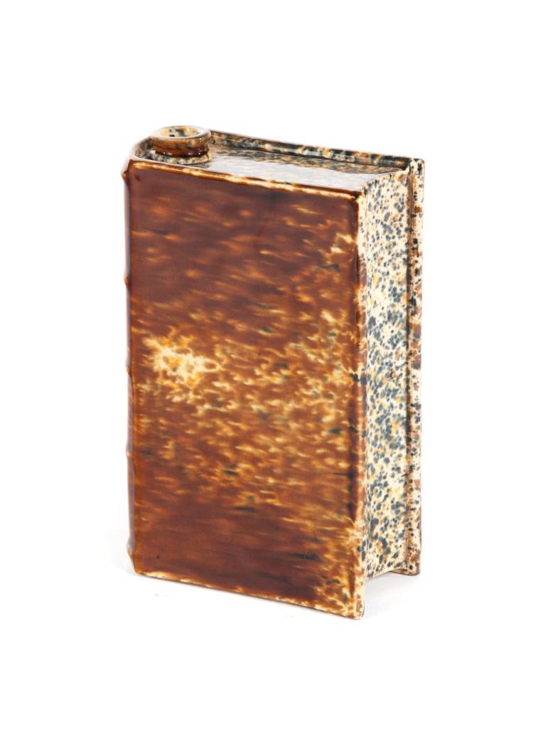 BENNINGTON FLINT ENAMEL BOOK FLASK.