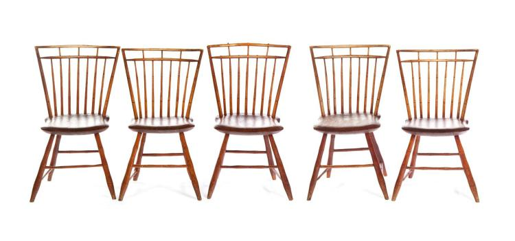 FIVE AMERICAN BAMBOO WINDSOR SIDE CHAIRS.