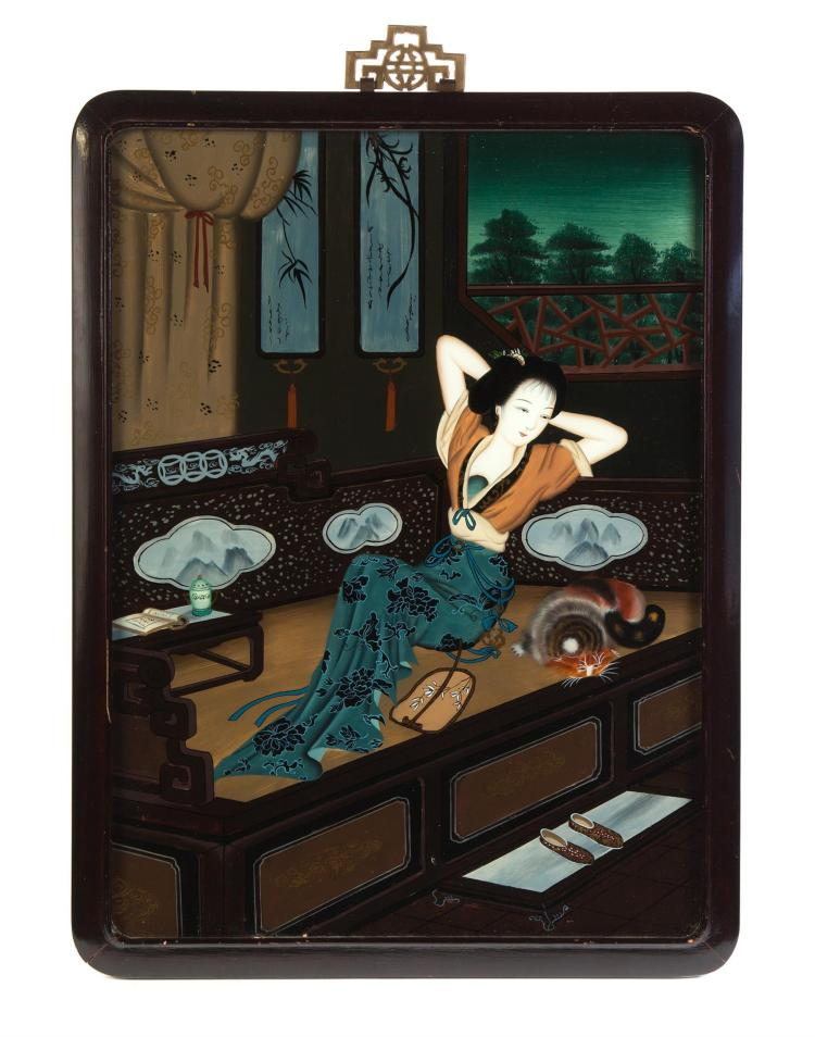 ASIAN REVERSE GLASS PAINTING.