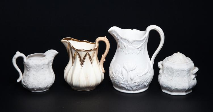 FOUR PIECES OF BENNINGTON POTTERY.