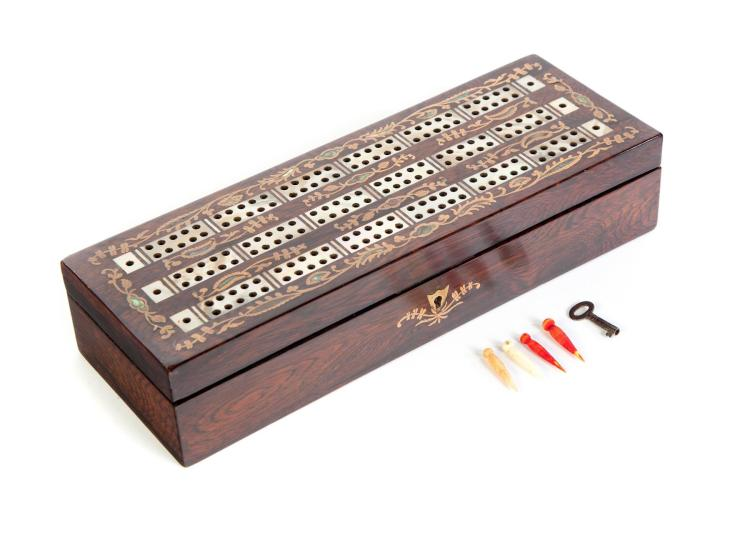 ENGLISH INLAID CRIBBAGE BOARD.