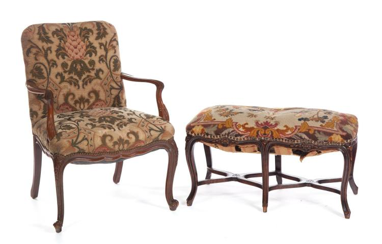 FRENCH-STYLE STOOL AND ARMCHAIR.
