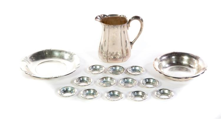 FIFTEEN AMERICAN PIECES STERLING TABLEWARE.