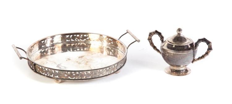 CHINESE EXPORT SILVER TRAY AND SUGAR.