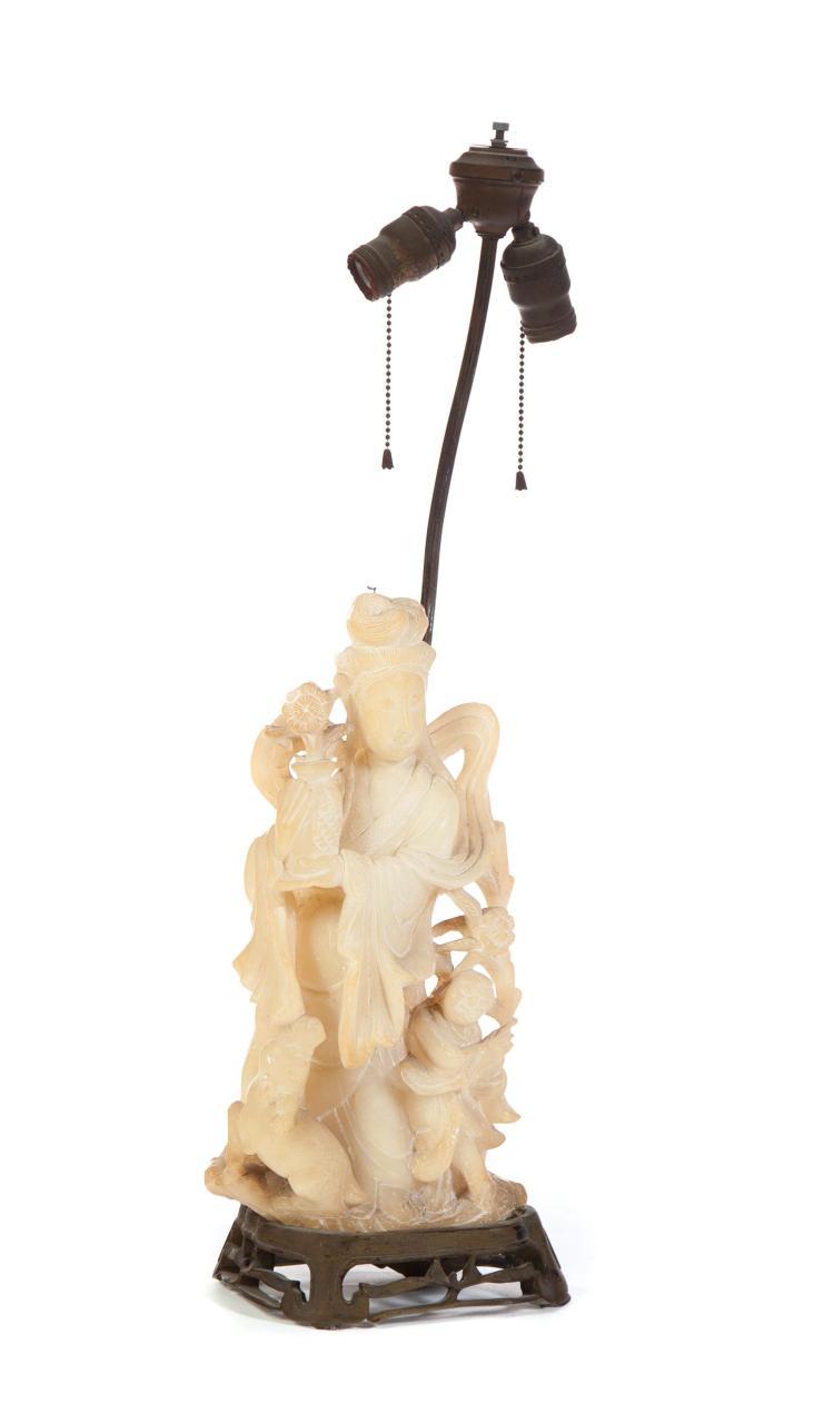 CHINESE ALABASTER FIGURAL LAMP.