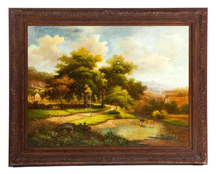 CONTEMPORARY PASTORAL LANDSCAPE SIGNED T. TOMAS (LATE 20TH CENTURY).
