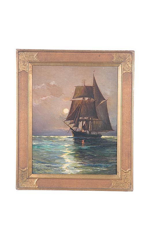 EVENING PORTRAIT OF A SCHOONER BY RUTH D. WILCOX (NEW JERSEY, B. 1908).