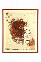 BROWN AND TAN SKETCH OF A MAN'S FACE IN A BUBBLE AFTER JULIAN SCHNABEL (AMERICAN, B. 1951).