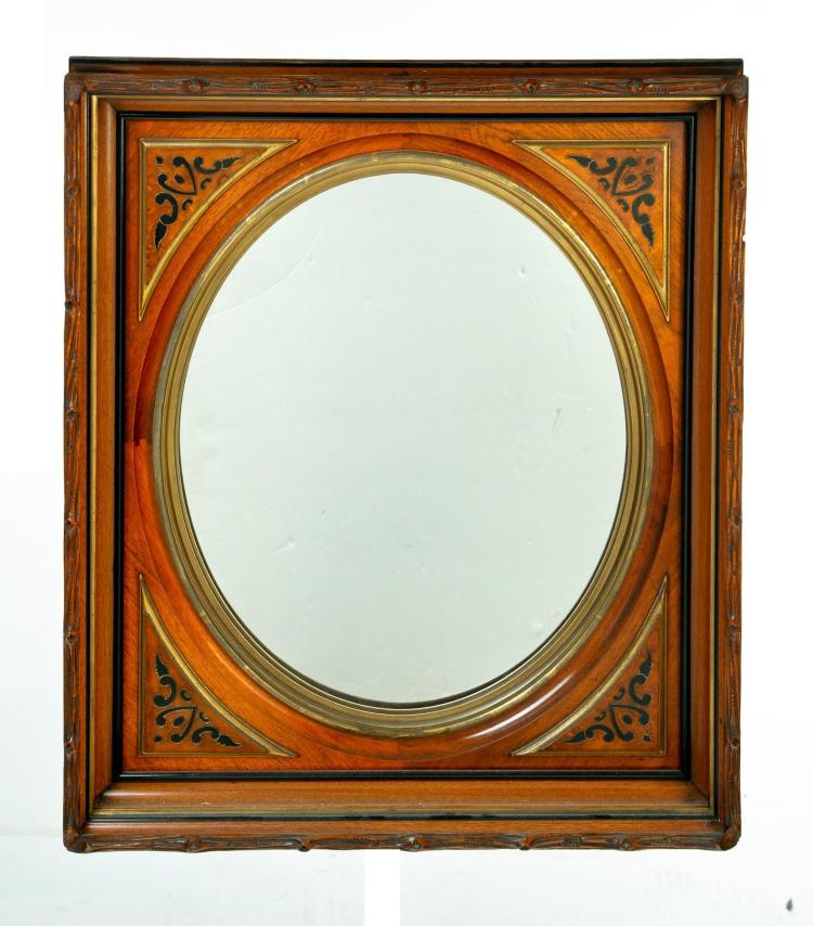 VICTORIAN SHADOW BOX FRAME WITH OVAL MIRROR.