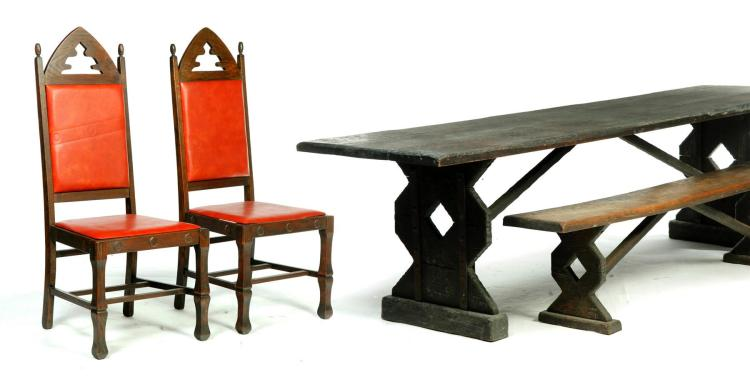 assembled dining room set in the arts and crafts style