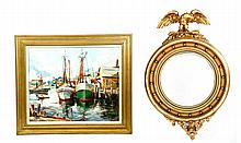 MIRROR AND PAINTING OF HARBOR.