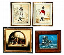 FOUR FRAMED PAINTINGS.