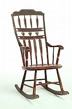 DECORATED WINDSOR ROCKING CHAIR.