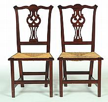 PAIR OF CHIPPENDALE SIDE CHAIRS.