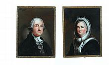 REVERSE GLASS PORTRAITS OF GEORGE AND MARTHA WASHINGTON.