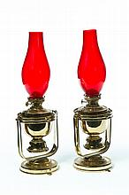 PAIR OF BRASS GIMBAL LAMPS.