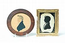 FRAMED SILHOUETTE AND MINIATURE PORTRAIT OF YOUNG MEN.