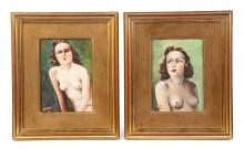 TWO FRAMED OIL ON BOARD NUDE PAINTINGS.