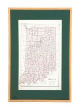 FRAMED 1875 MAP OF INDIANA.