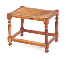 FOOTSTOOL WITH RUSH SEAT.