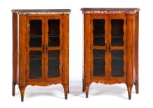 PAIR OF MARBLE TOP MARQUETRY CURIO CABINETS.