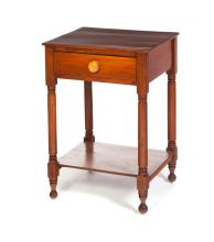LATE SHERATON ONE-DRAWER WORK TABLE WITH LOWER SHELF.