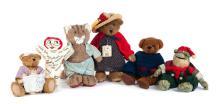 FIVE MODERN TEDDY BEARS AND A VOO DOO DOLL.