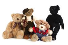 FOUR MODERN TEDDY BEARS.