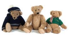 THREE 20TH CENTURY TEDDY BEARS.