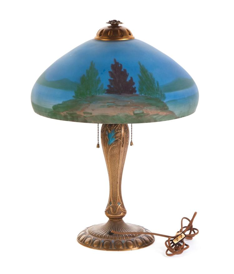 Table lamp with reverse painted shade for Painting light shades